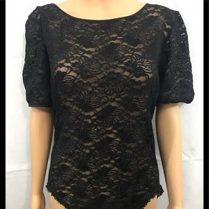Saks Fifth Avenue Tops - BODYSUIT sz large shear black lace. Saks 5th ave
